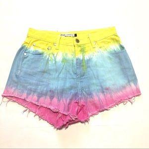 Nasty Gal MINKPINK High Rise Tie Dye Cutoff Shorts